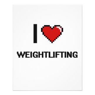 """I Love Weightlifting Digital Retro Design 4.5"""" X 5.6"""" Flyer"""