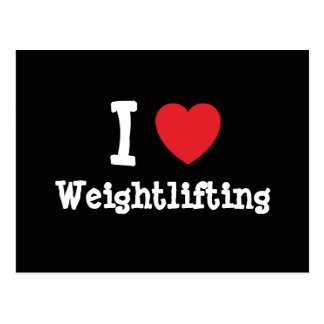 I love Weightlifting heart custom personalized Postcard