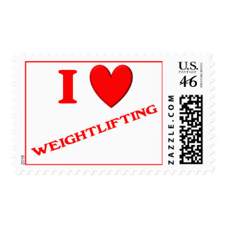 I Love Weightlifting Stamp
