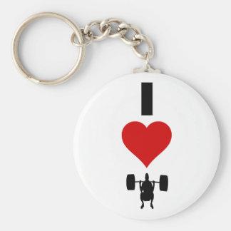 I Love Weightlifting (Vertical) Keychain