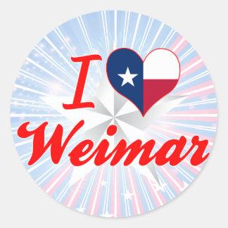 I Love Weimar Texas Round Sticker