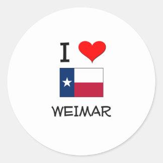 I Love Weimar Texas Round Stickers