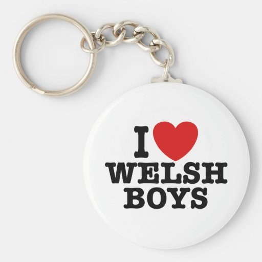 I Love Welsh Boys Basic Round Button Keychain