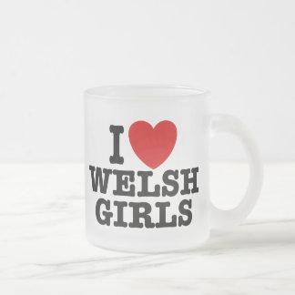 I Love Welsh Girls Frosted Glass Coffee Mug