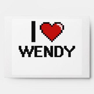 I Love Wendy Digital Retro Design Envelopes