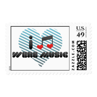 I Love Were Music Postage Stamps