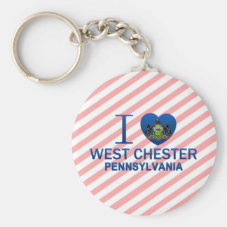 I Love West Chester, PA Basic Round Button Keychain