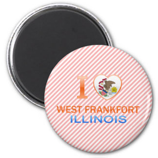 I Love West Frankfort, IL 2 Inch Round Magnet