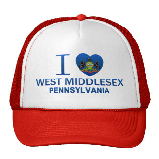 I Love West Middlesex, PA Mesh Hats