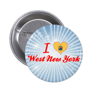 I Love West New York New Jersey Pinback Button