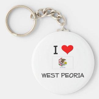 I Love WEST PEORIA Illinois Basic Round Button Keychain