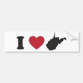 I Love West Virginia Car Bumper Sticker