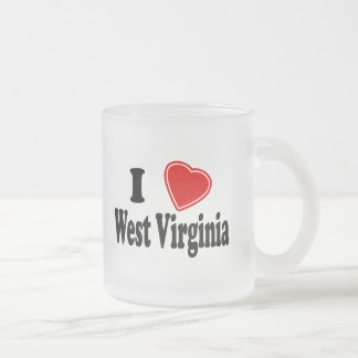 I Love West Virginia Frosted Glass Coffee Mug