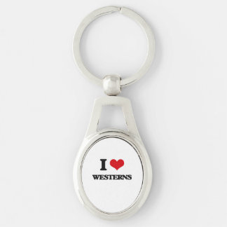 I love Westerns Silver-Colored Oval Keychain