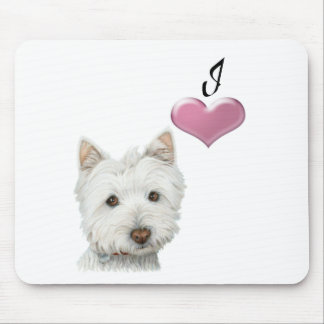 I love Westie dog art design Mouse Pad