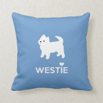 I Love Westie Dogs - West Highland White Terrier Throw Pillow