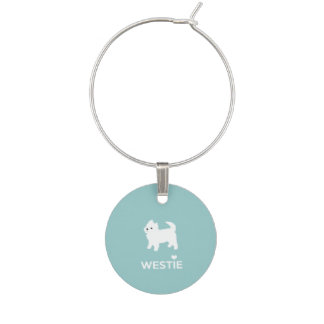 I Love Westie Dogs - West Highland White Terrier Wine Glass Charm