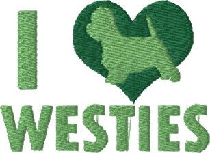 2abac20edb5 I Love Westies Green Ladies Embroidered Long Sleeve T-Shirt