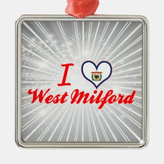 I Love WestMilford, West Virginia Square Metal Christmas Ornament
