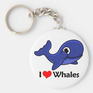 I Love Whales Basic Round Button Keychain