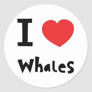 I love whales classic round sticker