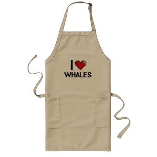 I love Whales Digital Design Long Apron