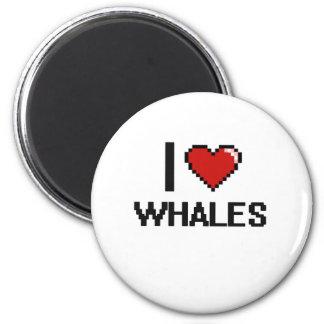 I love Whales Digital Design 2 Inch Round Magnet
