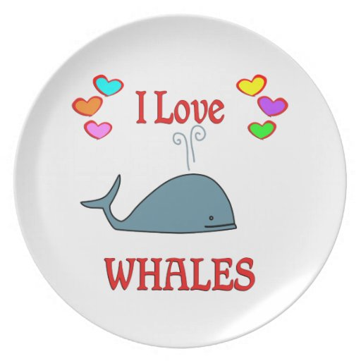 I Love Whales Dinner Plate