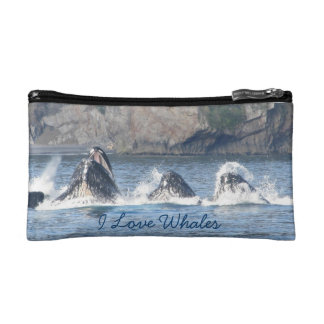 I love whales double sided Humpback whale cosmetic Makeup Bag