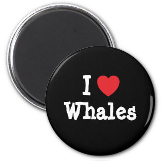 I love Whales heart custom personalized 2 Inch Round Magnet