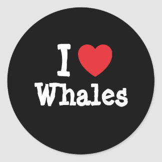 I love Whales heart custom personalized Classic Round Sticker