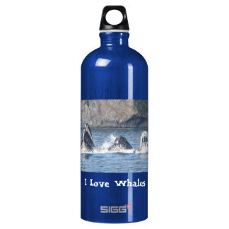 I Love Whales humpback whale Aluminum Water Bottle