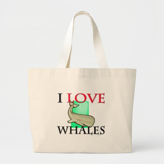 I Love Whales Large Tote Bag