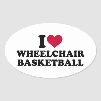 I love wheelchair basketball oval sticker