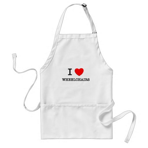 I Love Wheelchairs Adult Apron