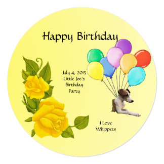 I Love Whippets and Yellow Roses Card