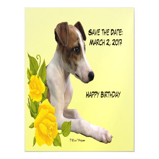 I Love Whippets and Yellow Roses Magnetic Card