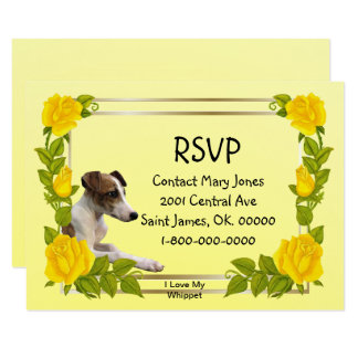I Love Whippets and Yellow Roses - RSVP Card