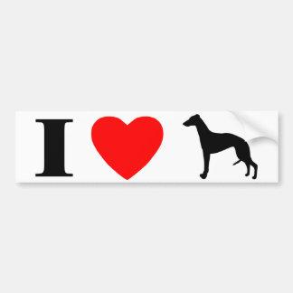 I Love Whippets Bumper Sticker Car Bumper Sticker
