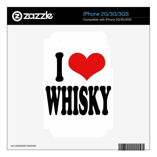 I Love Whisky Decals For iPhone 2G