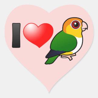 I Love White-bellied Parrots Heart Sticker