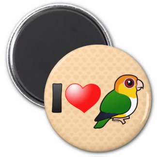 I Love White-bellied Parrots 2 Inch Round Magnet