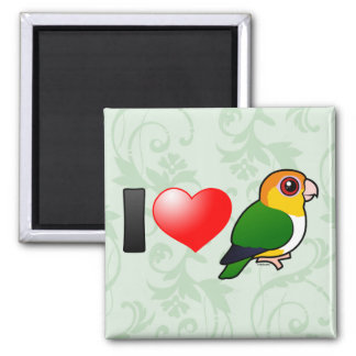 I Love White-bellied Parrots 2 Inch Square Magnet