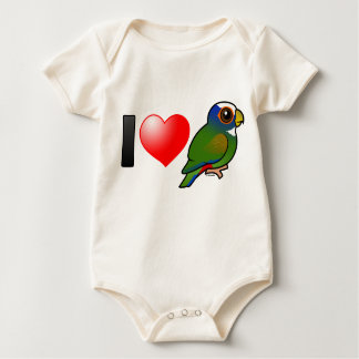 I Love White-crowned Parrots Baby Bodysuit