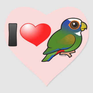 I Love White-crowned Parrots Heart Sticker
