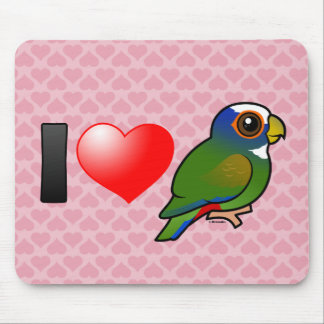 I Love White-crowned Parrots Mouse Pad