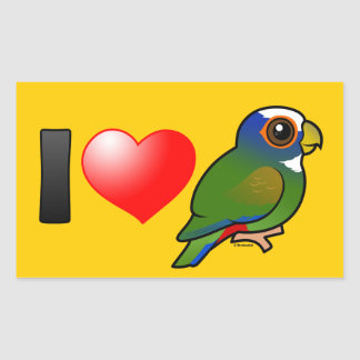 I Love White-crowned Parrots Rectangular Sticker