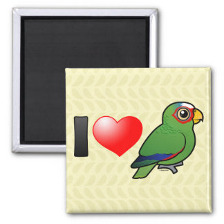 I Love White-fronted Amazons 2 Inch Square Magnet