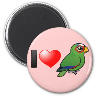 I Love White-fronted Amazons 2 Inch Round Magnet