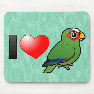 I Love White-fronted Amazons Mousepads